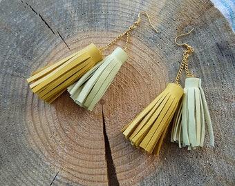 Leather earrings, tassel earrings, genuine leather earrings, leather tassel earrings, long earrings, leather jewelry