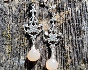 peach moonstone/ chandelier earring