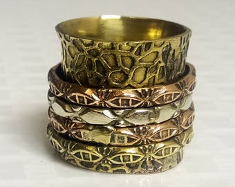 4 Spinning ring band | Brass spinner band ring | Tribal wedding wear rings | Fusion girls jewelry ring | Banjara Style Jewelry Bands | R134