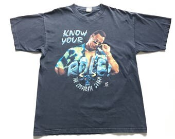 1990s WWE THE ROCK Dwayne Johnson Know Your Role The Corporate Champ Distressed Oversized Vintage T Shirt // Size Xlarge