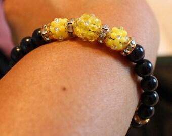 Beautiful Blue sandstone & glass-beaded shamballa bracelet; cute, handmade, beadweaving, blue, yellow, casual wear, party wear