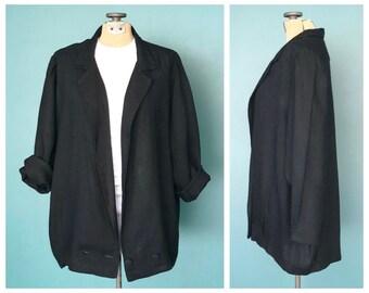 Black Flax Linen Jacket, Loose Jacket Chore Coat Sprint Jacket Lightweight Jacket Chore Jacket Slouchy Summer Jacket Medium Large