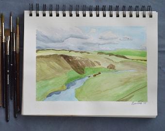 "Rolling Hills | Original Watercolor | 7"" x 10"""