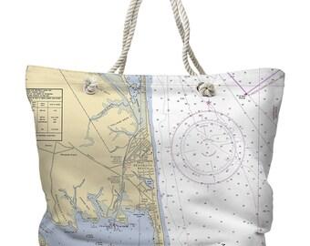 DE: Rehoboth Beach, DE Nautical Chart Tote Bag