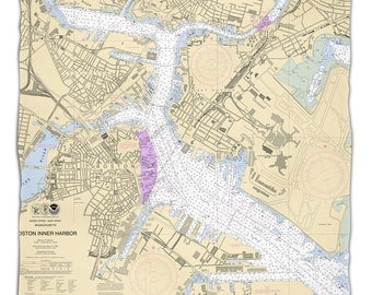 MA: Boston, MA Nautical Chart Fleece Throw Blanket, Map Blanket