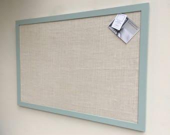 Giant blue pin board. Blue notice board. Blue bulletin board. Fabric memo board. Fabric message board. Hessian cork board. Hessian pin board