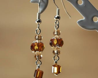 Color amber earrings Silver earrings with round and square glass beads