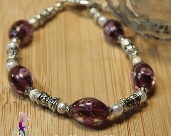 Pink lampwork beaded bracelet smoky with toggle clasp