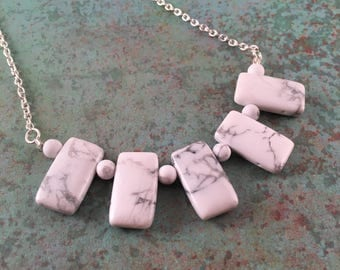Howlite 5 Pendant Necklace