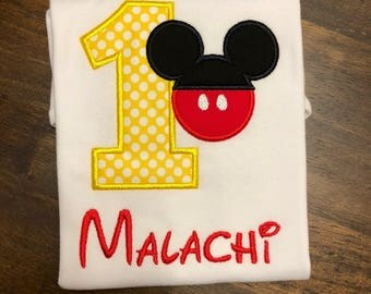 Mickey Mouse 1st First Birthday Shirt // Mickey Mouse Shirt // Monogrammed Birthday Shirt // Mickey Mouse Shirt for Boys // 2nd Second