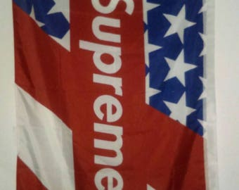 Original SUPREME United States Flag logo. Weather Resistant in High Definition.  Over 5ft long