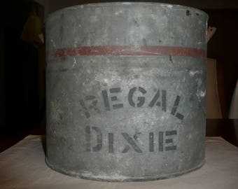 Vintage Galvanized Bucket, Dixie Regal, Good Condition, with Handle, Holds water