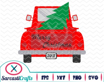 Merry Christmas Truck - Christmas/Holiday Graphic - Digital download - svg - eps - png - dxf - Cricut - Cameo - Files for cutting machines