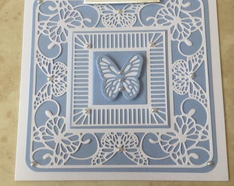 """Handmade Happy Birthday card gorgeous pretty delicate blue & white butterfly with swirls faux pearls 6"""" square"""