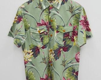 RALPH LAUREN Shirt Vintage 90's Ralph Lauren Country Floral Theme All Over Print Button Down Shirt Size 9