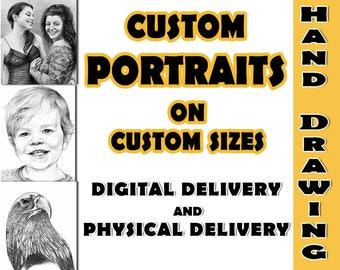 Custom Portrait Custom Sketch Custom Pencil Portrait Custom Hand Drawn Portrait Commission Portrait Personalized Portrait Hand Drawing Art