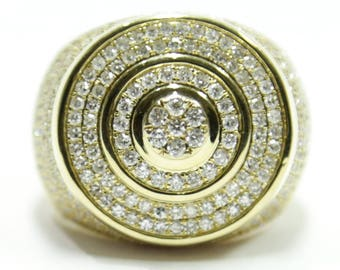 1.90 CT. Stepped Circle Diamond Statement Ring in 14K Gold