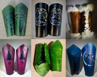 Leather Armor Bracers - Arm Armor for Medieval Leather Armor Set - Customize your own Armor Fantasy Design!
