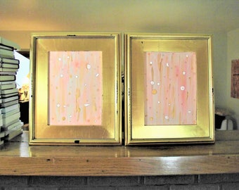 Pink Abstract Painting Set of Two acrylic on canvas Womens bedroom art Salmon Girls Room Mixed Media gold framed painting 18x18 Gustav Klimt