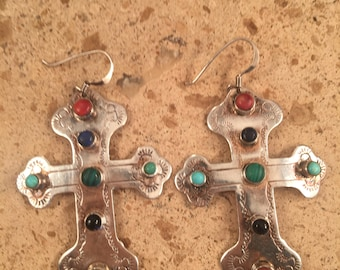 Vintage Navajo Multi Stone and Sterling Silver Dangle Earrings