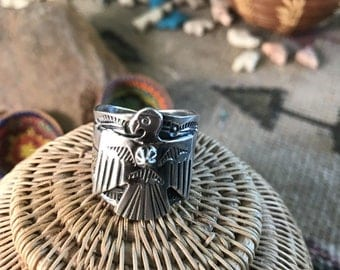 Sterling Silver Navajo Stamped Thunderbird Ring Sz 9.5 By Marcella James