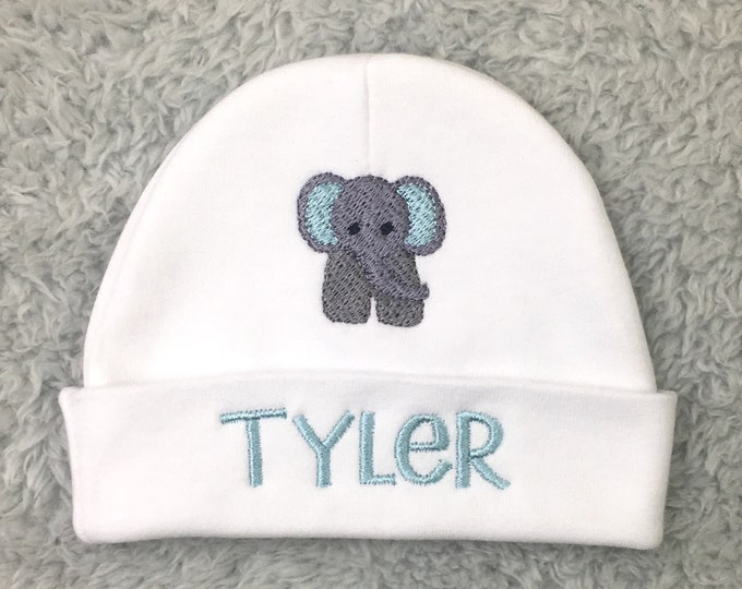 Personalized newborn hat with elephant - preemie hat, micro preemie hat, NICU clothes, animal baby shower gift, newborn pictures, going home