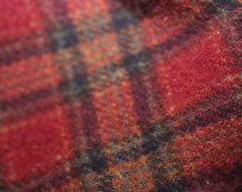 Wool, Plaid - Red, forest green and gold