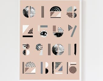 Abstract Numbers Blush Pink Art Print