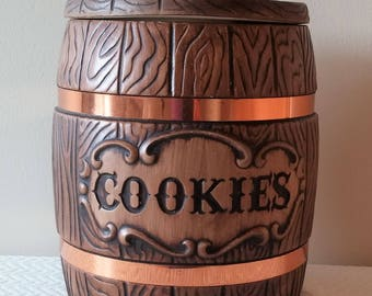 Treasure Craft Barrel Style Cookie Jar with Copper Rings, 1970's Treasure Craft Cookie Jar, Ceramic Barrel Cookie Jar, Vintage Kitchen