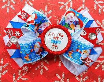 Candy Cane Santa Holiday Hair Bow Headband Snowflake Present Stocking