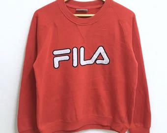 RARE!!! FILA Big Logo Embroidery Crew Neck Red Colour Sweatshirts Hip Hop Swag M (Ladies) Size