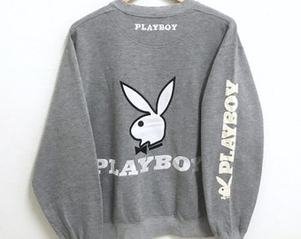 RARE!!! Playboy Big Bunny Embroidery SpellOut Crew Neck Grey Colour Sweatshirts Hip Hop Swag M Size