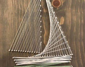 Sail boat string art • Sail boat • nautical sail boat • rustic sail boat • sail boat decor •sail boat wall art