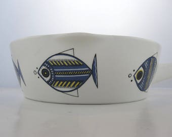 Vintage Fish fondue pot Villeroy&Boch Made in Luxembourg 60's / caquelon / kitchen /  décor poisson / graphism / pattern /