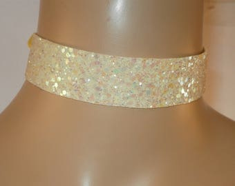 Lemon Yellow Glitter Fabric Choker Satin Ribbon Tie Free Size Bridesmaids