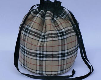 Beige Tartan Dolly Bag Purse Evening Handbag With Black Satin Ribbon