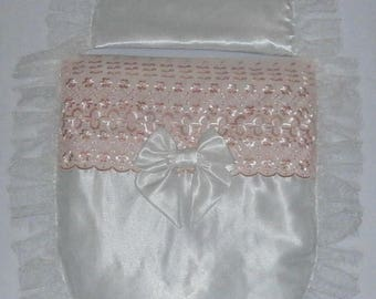 Ivory Satin and Peach Broderie Anglais Moses Basket or Baby Pram Stroller Quilt Set