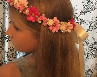Pink Flower crown wedding, hair band, hair accessories, Bridesmaid Hairpiece, Headband, Bridal, Wedding, flower girl accessories