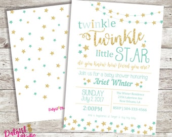 Twinkle Twinkle Little Star Baby Shower Invite - Neutral/Boy/Girl/ PINK, MINT, BLUE