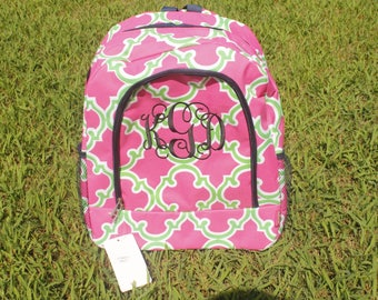 Monogram Pink and green quatrefoil backpack and lunch bag- personalized bookbag