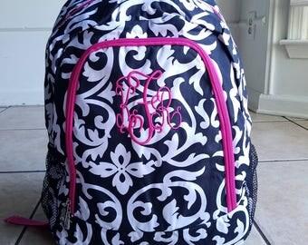 Monogrammed Pink and Black Damask backpack