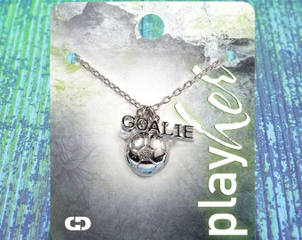 Customizable Soccer Goalie Silver Necklace - Personalize with Jersey Number, Heart Charm, or Letter Charm! Great Soccer Gift!