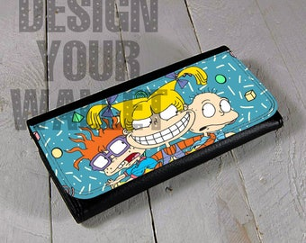 Womens Wallet, Leather wallet, Bifold wallet, Personalized wallet, Travel wallet, Rugrats, Tommy pickles, 90s nickelodeon, 90s kids, chuckie