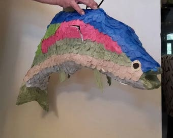 Rainbow trout fish inspired piñata. Handmade. New