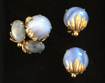 Original Christian Dior vintage clip earrings + brooch