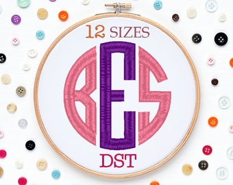 12 Sizes Circle Monogram Embroidery Font DST Format Embroidery Machine,Initials Monogram,Monogram Design,Instant Download