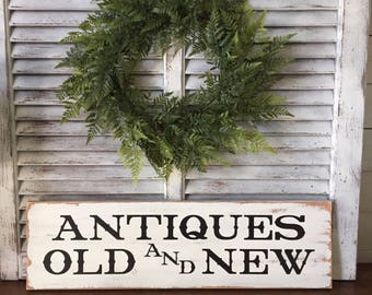 Antiques Sign, Farmhouse Sign, Rustic Sign, Distressed Sign, Wall Decor