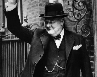 British Prime Minister Winston Churchill in Front of 10 Downing Street - 5X7, 8X10 or 11X14 Photo (AA-073)