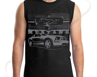 Mustang Grill Adults Muscle Tee Mustang with Grill Men's Sleeveless T-Shirt Cool Ford Mustang Car  - 1669C_GMMT
