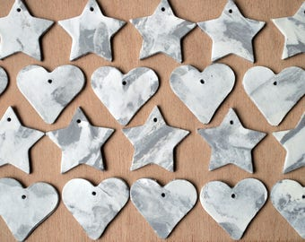 Marble heart or star gift tags, Set of 5 or 10, Grey and white marble, Marble gift wrapping, unique gift tags, marble texture, marble look